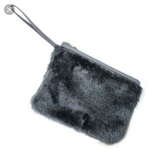 Handbags - Black faux fur pouch clutch handbag